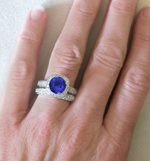 Tanzanite and Diamond Halo Engagement Ring with Filigree Detail in