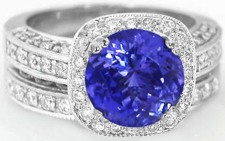 antique ring engagement swirl cut diamond rings tanzanite oval aaaa