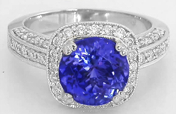 Round Tanzanite And Diamond Halo Ring In 14k White Gold