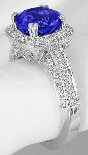 Tanzanite And Diamond Halo Engagement Ring With Filigree