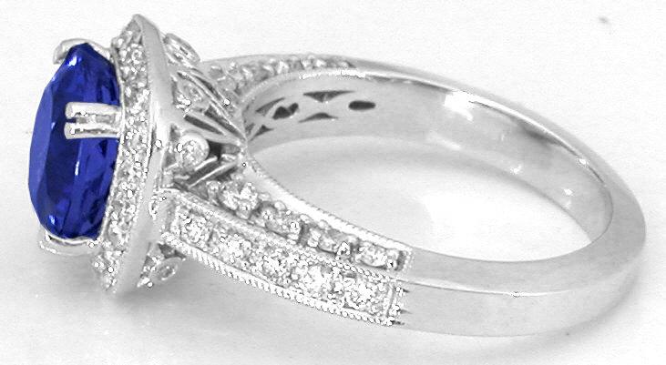 Tanzanite And Diamond Halo Engagement Ring With Filigree
