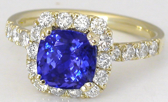 Cushion Tanzanite Engagement Ring In 14k Yellow Gold Gr 7079