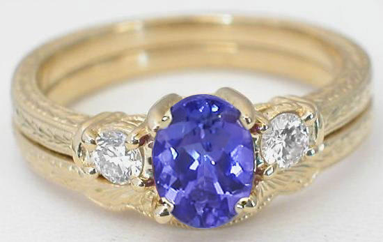 three stone tanzanite engagement ring and wedding band with engraving in 14k yellow gold gr 7080. Black Bedroom Furniture Sets. Home Design Ideas