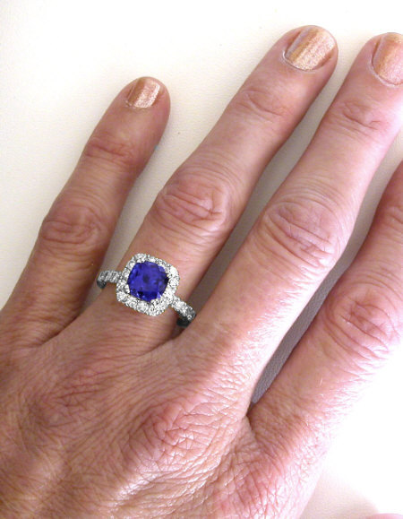 Cushion Cut Tanzanite And Diamond Halo Ring In 14k White