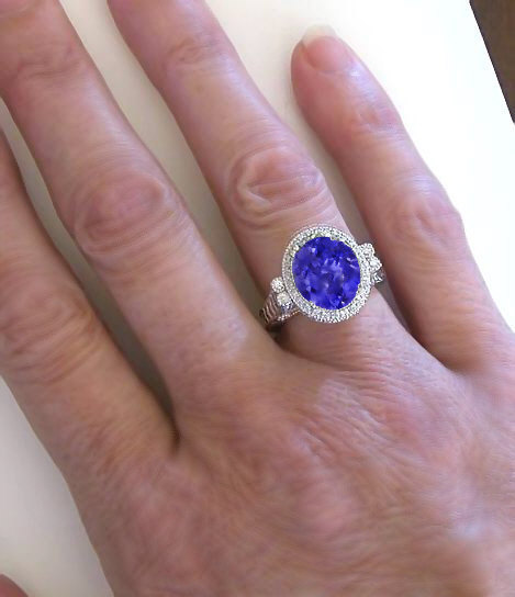 Hand Engraved Tanzanite Engagement Ring in 14k white gold ...