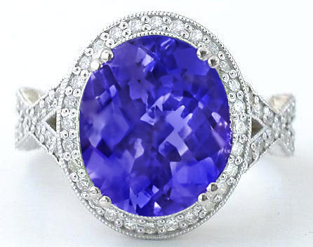 top and ring diamond shank tanzanite split oval