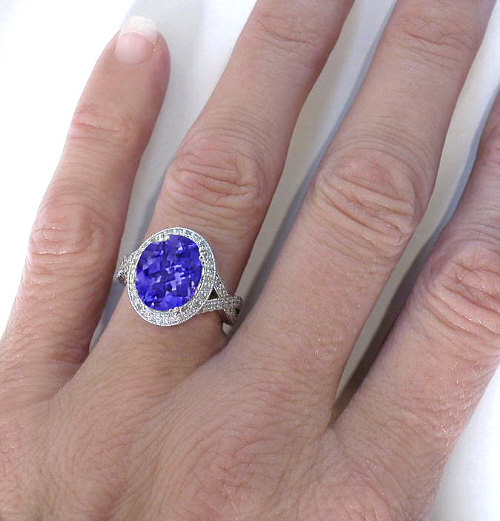 Dramatic Oval Engraved Tanzanite Ring In 14k White Gold