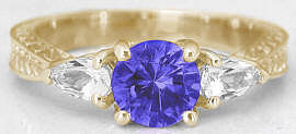 Tanzanite Three Stone Rings in 14k Yellow Gold