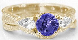 Tanzanite Engagement Ring with Wedding Band in 14k Yellow Gold