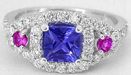 Princess Cut Tanzanite, Pink Sapphire and Diamond Ring in 14k white gold