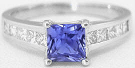 Princess Cut Tanzanite and Diamond Engagement Ring in 14k white gold