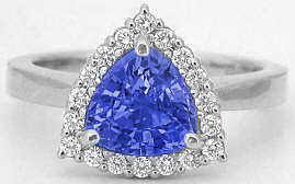 1.20 ctw Trillion Tanzanite and Diamond Halo Ring in 14k white gold