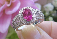 Ornate Vintage Design Natural Oval Rubellite Tourmaline Ring with Real Diamonds in genuine 14k white gold setting with filigree detailing for sale