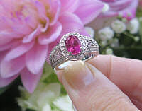 New Ornate Antique Style Design Natural Oval Rubellite Tourmaline Ring with Real Diamonds in genuine 14k white gold setting with filigree detailing for sale