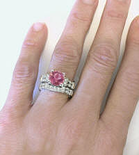 Pink Tourmaline and Diamond Engagement Ring and Wedding Band
