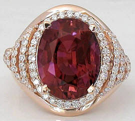 8.80 ctw Pink Tourmaline and Diamond Ring in 14k rose gold