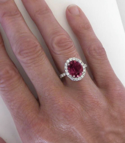 Nearly 6 Carat Pink Tourmaline And Diamond Halo Ring In