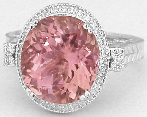 Light Pink Tourmaline Engagement Ring With Engraving And