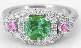 1.74 ctw Cushion Seafoam Tourmaline, Pink Sapphire and Diamond Ring in 14k gold