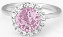 Diamond Halo Ring with Round Pink Sapphire