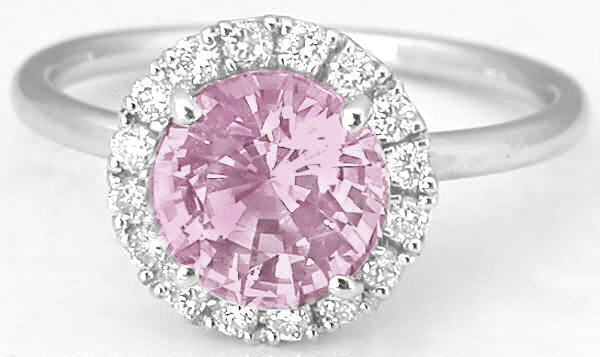 d5799b403 Unheated Round Pink Sapphire Engagement Ring with Plain Band (PR-120)