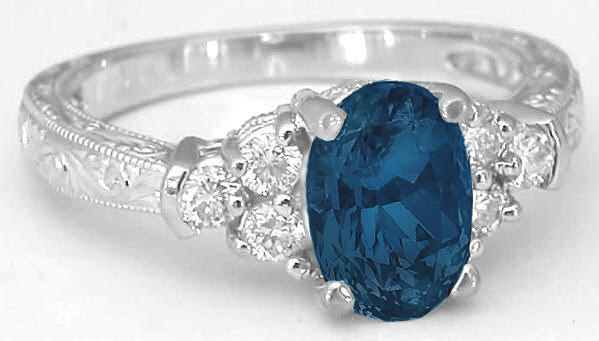 London Blue Topaz And Diamond Engraved Engagement Ring Gr