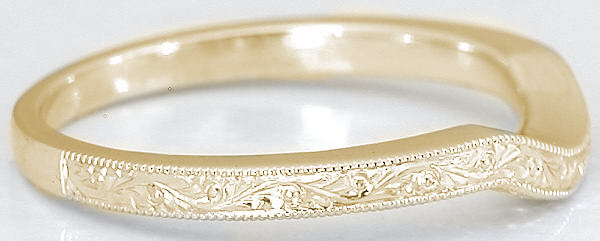 Engraved Wedding Ring In Yellow Gold