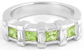 Peridot Baguette Diamond Wedding Rings