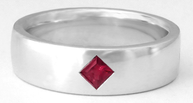 Mens Ruby Wedding Band