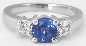 Three Stone Sapphire Ring White Gold
