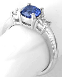 White Sapphire and Blue Sapphire Ring