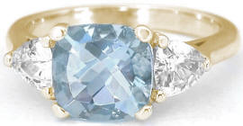 Three Stone 2.65 ctw Aquamarine and White Sapphire Ring in 14k yellow gold