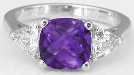 Cushion Amethyst and Trillion White Sapphire Ring