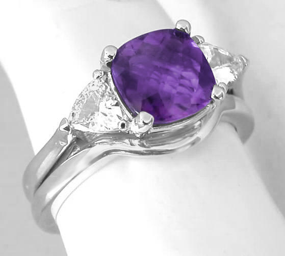 Cushion Cut Amethyst Engagement Ring with Trillion White Sapphires