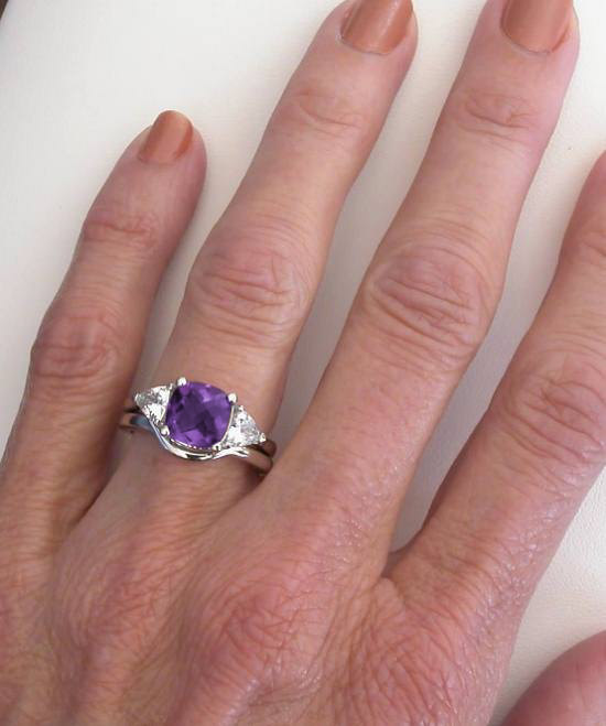 hand picture of cushion amethyst and trillion white sapphire engagement ring set in 14k white gold - Amethyst Wedding Rings