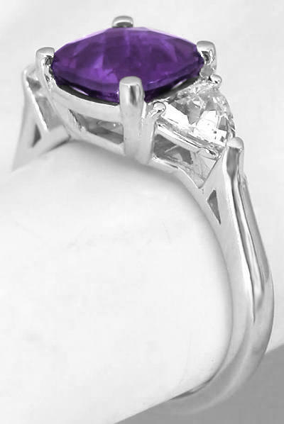 Cushion Cut Amethyst Rings With Trillion White Sapphires