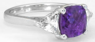 Three Stone Cushion Amethyst and Trillion White Sapphire Ring in 14k white gold