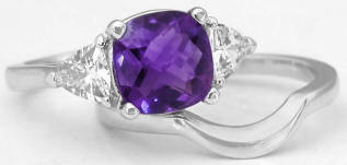 Cushion Amethyst Engagement Ring Set