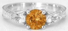 Round Citrine and Pear White Sapphire Ring