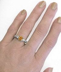 Past Present Future Round Citrine and Pear White Sapphire Ring
