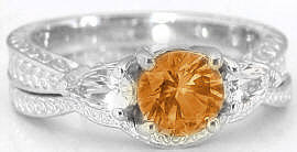 Citrine and Pear White Sapphire Wedding Rings in 14k