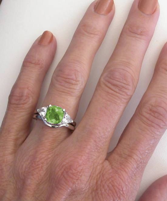 Three Stone Peridot Ring