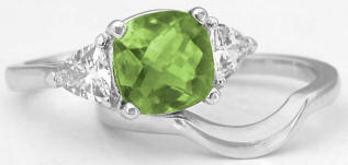 Peridot and White Sapphire Engagement Rings