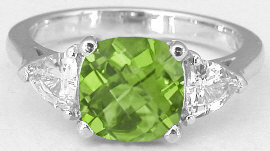 Peridot and Trillion White Sapphire Ring