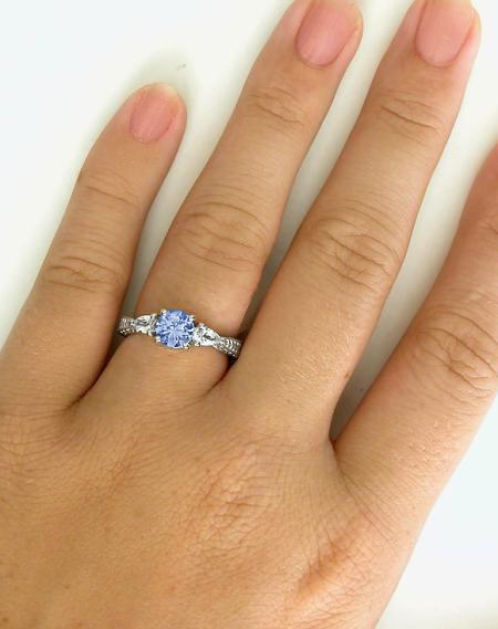 ring baguette sapphire platinum item engagement rings light blue diamond pear full