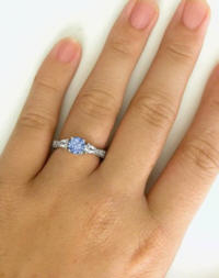 Three Stone Blue and White Sapphire Ring with carved band