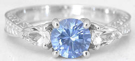 Blue and White Sapphire Ring with carved band