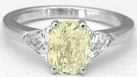 Yellow Sapphire Three Stone Ring in 14k