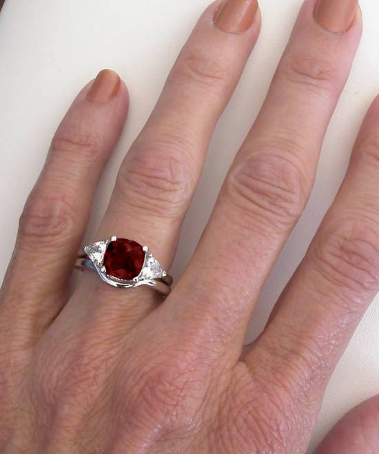 3 Stone Garnet Engagement Ring And Wedding Band In 14k