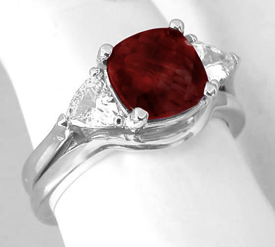 Natural White Shire Cushion Garnet Trillion Engagement Ring